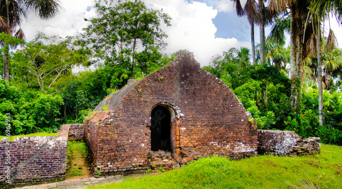 Fotobehang Vestingwerk Ruins of Zeeland fort on the island in Essequibo delta, Guyana