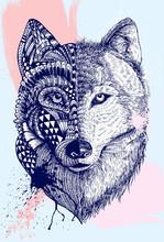 Abstract Wolf Illustration, Ve...