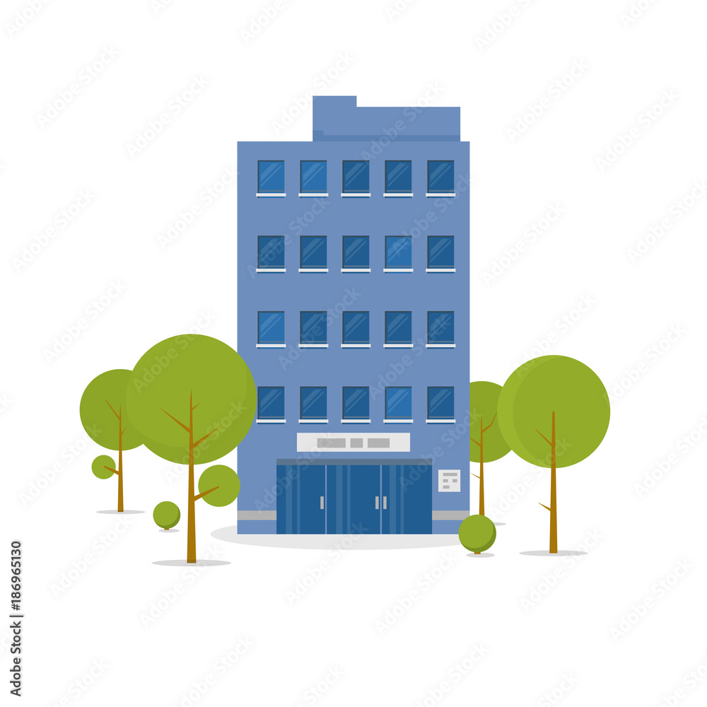 Fototapeta Business building in green recreation park zone. Downtown office with board, and big central entrance and green trees near building. Urban architecture concept. Flat style vector illustration.