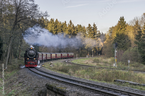 Germany, Saxony-Anhalt, Harz National Park, Harz Narrow Gauge Railway in autumn