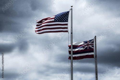 Flags of the USA and State Hawaii