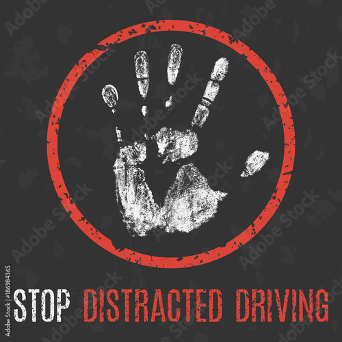 Social problems of humanity. Stop distracted driving. Wallpaper Mural
