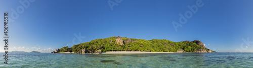 Seychelles, La Digue, Island, West Coast, Anse Source D'Argent, Panorama