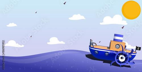 Paseo en barco a vapor Wallpaper Mural