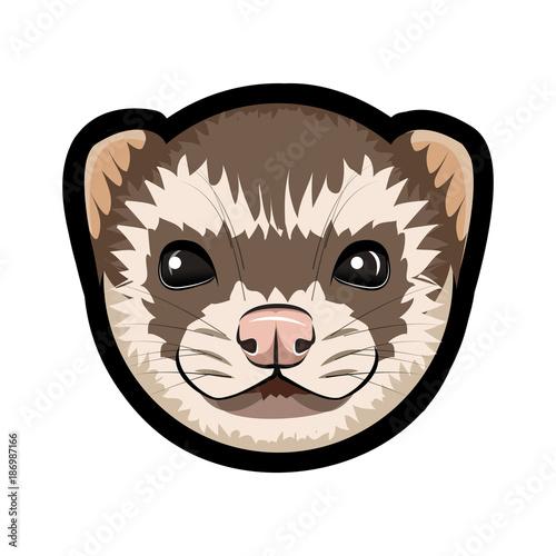 Face of cartoon ferret on the white background. Billede på lærred