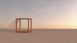 Canopy bed on tranquil beach, 3d rendering