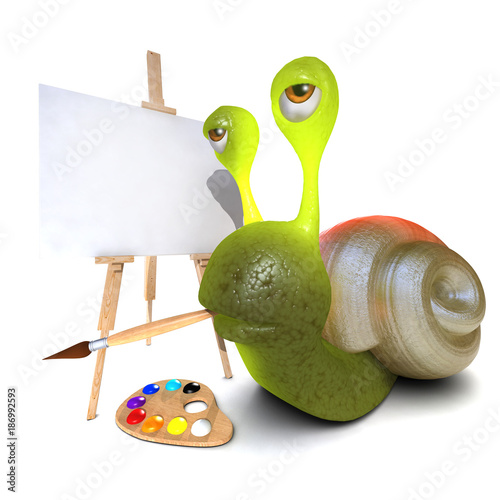 Valokuva  3d Funny cartoon snail character painting a picture