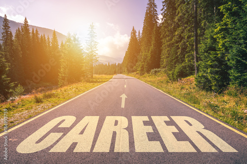 Highway with career text with sunrise in the morning, symbolizing the way to the Wallpaper Mural
