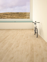 Electric Bicycle In Room, View Through Window To Dunes