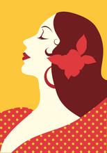 Beautiful Spanish Woman With Flower In Her Hair And Polka Dot Dress Wearing Big Circular Earrings