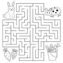 Help Bunny And Ladybug Find Way, Spring Education Maze For Preschool Children. Coloring Page Or Book. Vector Illustrator
