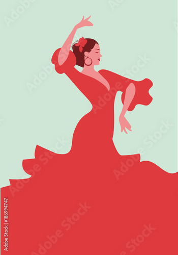 Beautiful Spanish flamenco dancer, wearing elegant red dress and flower in her h Wallpaper Mural