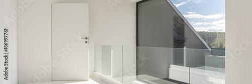 Fototapeta White hall wiith glass balustrade obraz