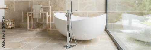 White ceramic bathtub