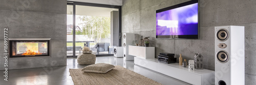 Fotografie, Obraz  Television and white loudspeakers