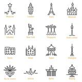 Fototapeta Fototapeta Londyn - World Landmarks - Vector Line Icon Set - Part I