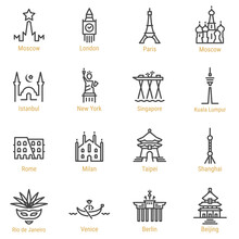 World Landmarks - Vector Line ...