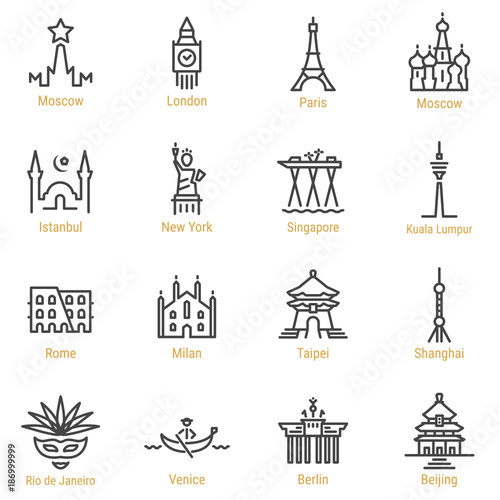 World Landmarks - Vector Line Icon Set - Part I