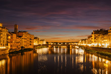 Florence Night And Sunset Ligh...