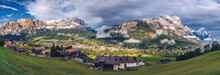 Panorama Of Boite Valley With Monte Antelao, The Highest Mountain In The Eastern Dolomites In Northeastern Italy, Southeast Of The Town Of Cortina D'Ampezzo, In The Region Of Cadore, Italy.