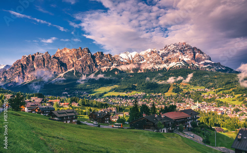 View of Cortina D'Ampezzo with Pomagagnon mount in the background, Dolomites, Italy, South Tyrol Canvas Print
