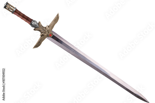 Sword disposed by diagonal, isolated on white background. Poster Mural XXL
