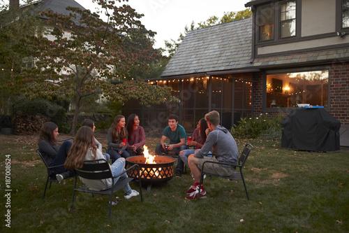 Fotografia, Obraz  Teenagers sit talking around a fire pit in a garden at dusk