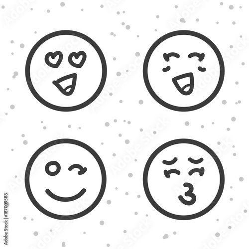 Love Smiley icons  Kiss and Love emoticons symbols  - Buy