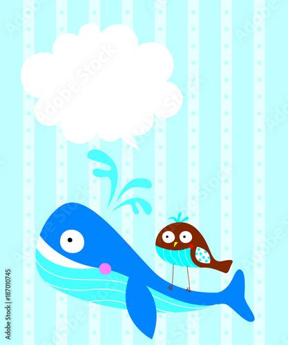 Staande foto Dolfijnen cute whale and bird message card vector