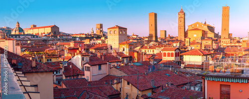 Aerial panoramic view of Bologna Cathedral and towers towering above of the roof Fotobehang