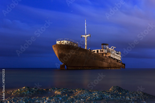 Canvas Prints Ship Rusty ship at night