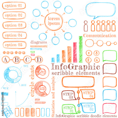 Fototapety, obrazy: Infographic scribble elements