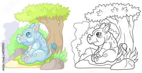 Spoed Foto op Canvas Magische wereld cartoon cute rhinoceros sitting near a tree