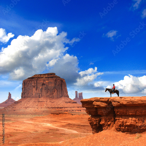 Photo sur Toile Bleu fonce Monument Valley with Horseback rider / Utah - USA