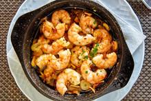 Pan Of Garlic Prawns