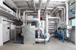 Leinwanddruck Bild - central heating and cooling system control in a boiler room