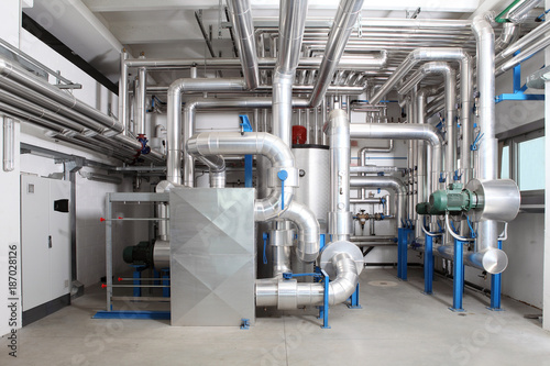 Fototapeta central heating and cooling system control in a boiler room obraz