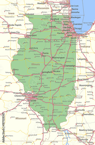Illinois-US-States-VectorMap-A Poster Mural XXL