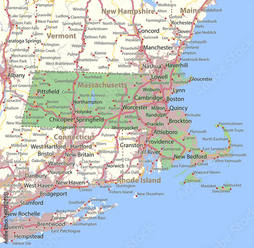 Fotomural Massachusetts-US-States-VectorMap-A