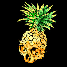 Vector Skull Pineapple. Exotic...