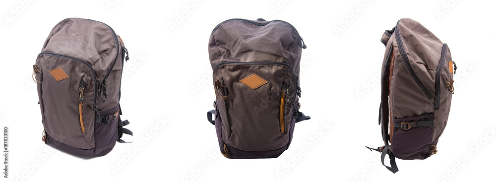 Fototapety, obrazy: Different views of backpack sides for travel. Front and sides of the backpack. Perspective view of the bag.
