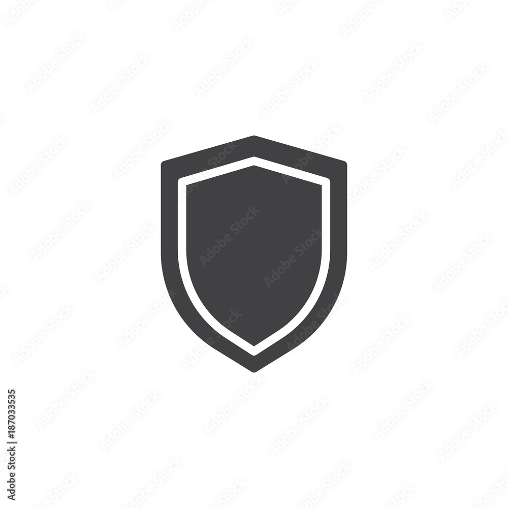 Fototapeta Shield protection icon vector, filled flat sign, solid pictogram isolated on white. Security shield symbol, logo illustration.