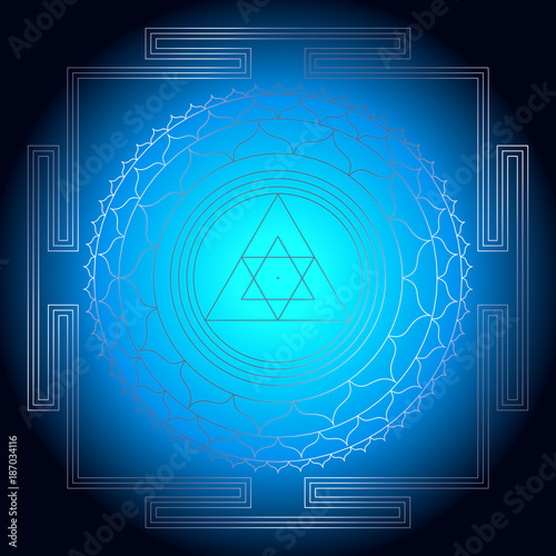 Sacred Indian Geometry Mystical Meditative Diagram Symbol - Vector Ganesh Yantra Fototapet