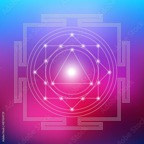 Photo Sacred Indian Geometry Mystical Meditative Diagram Symbol - Vector Tara Yantra