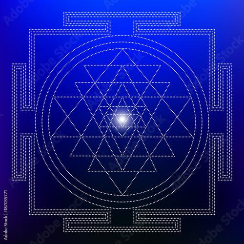 Canvastavla  Sacred Indian Geometry Mystical Meditative Diagram Symbol - Vector Shri Yantra