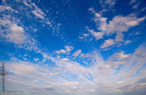 Obraz Background of a picturesque blue cloudy sky. - fototapety do salonu