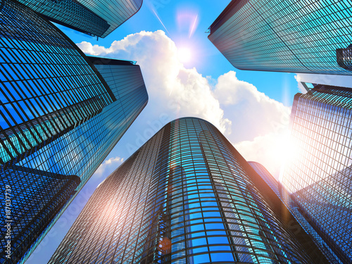 Stickers pour portes Batiment Urbain Modern business buildings