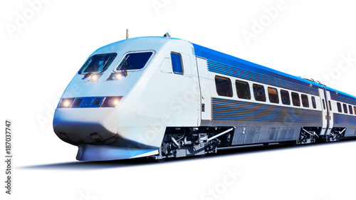 Cuadros en Lienzo  Modern high speed train isolated on white