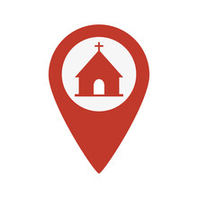 Map Pointer Icon With Church O...
