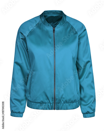 Carta da parati Blue azure bomber jacket isolated on white